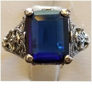 10ct Blue Sapphire Filigree Ring Size 6